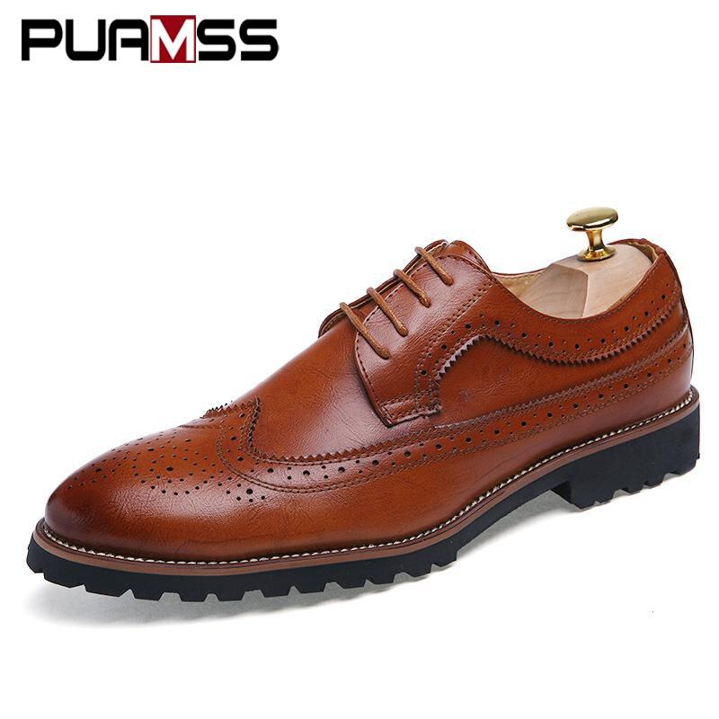 Men's Dress Shoes Fashion Brogue Floral Pattern Men Formal Shoes Leather Luxury Wedding Shoes Red Wine Men Oxford Plus Size 45