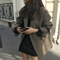 Women Winter Elegant Short Cashmere Overcoat Wool Coat Loose Long Sleeve Double Breasted Parka Oversized Chic Cloak