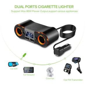 Image 4 - 3.5a 듀얼 usb 차량용 충전기 powstro 담배 라이터 소켓 led 디스플레이 충전기 아이폰 xiaomi 자동차 분배기 전원 어댑터