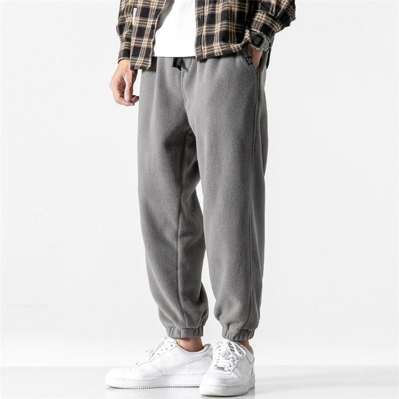 Новинка, свободные спортивные штаны для мужчин, новинка 2020, модные флисовые осенне зимние теплые спортивные брюки, мужские прямые брюки для улицы|Повседневные брюки|   | АлиЭкспресс