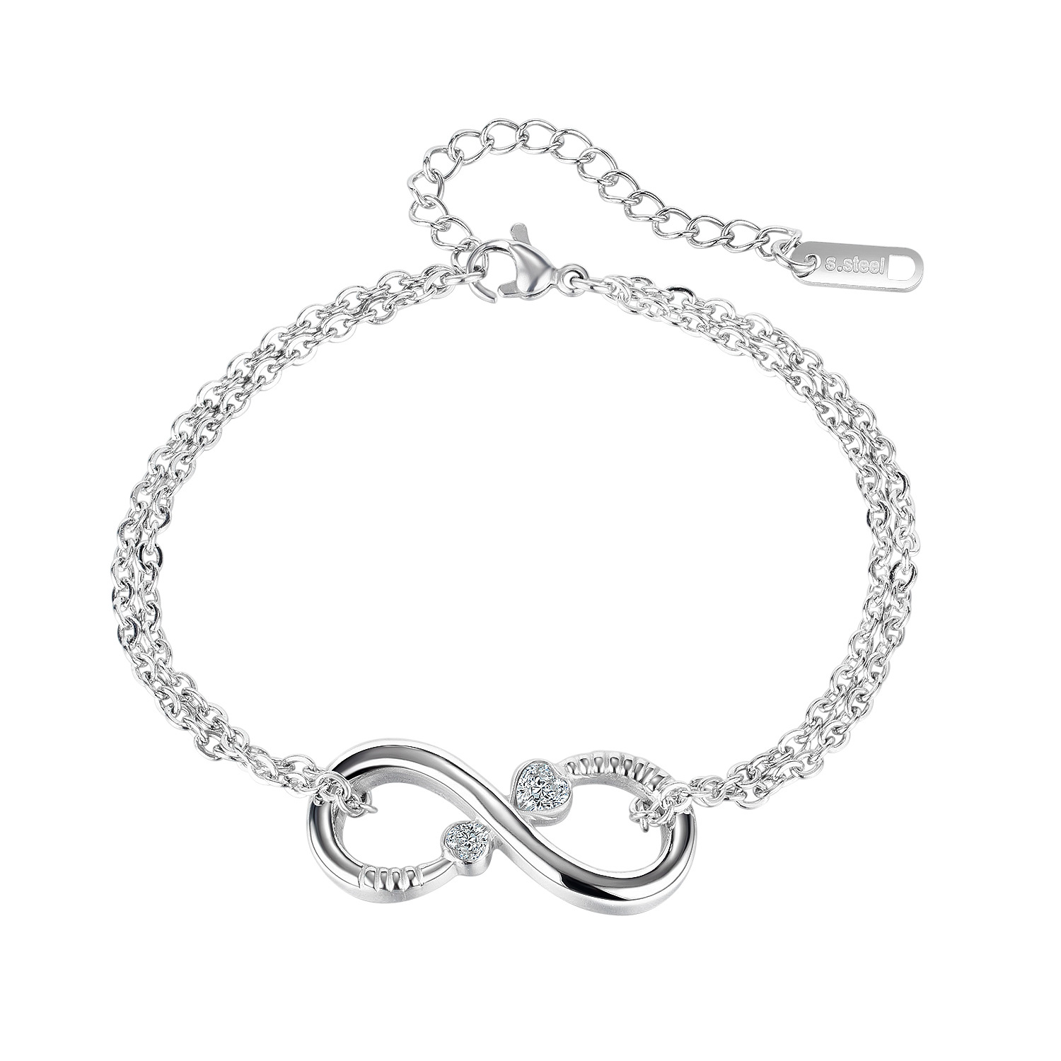 Women's Stylish And Simple 8-character Bracelet With Stainless Steel Zircon Inlaid Jewelry Women's Jewelry Women's Bracelets