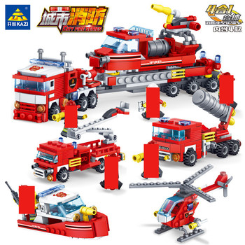 4Pcs/lot City Fire Fighting Trucks Helicopter Boat Building Blocks Firefighter Brinquedos Educational Bricks Playmobil Kids Toys 348pcs fire fighting 4in1 trucks car helicopter boat building blocks compatible lepining city firefighter figures children toys