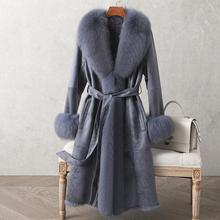 Coat Fox-Fur-Collar Double-Face Women's Real Rabbit-Fur Winter New Mid-Length Garments