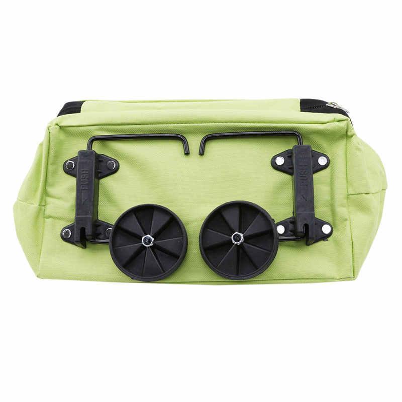 Twórcze kobiety środowiskowe składane miejsce do przechowywania wielofunkcyjne zakupy torba wózek holownik pokrowiec na wózek koła wielokrotnego użytku