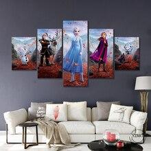 5 قطعة HD الكرتون جدار صورة المجمدة 2 الكرتون الفيلم المشارك قماش لوحات جدار ديكور فني للمنزل