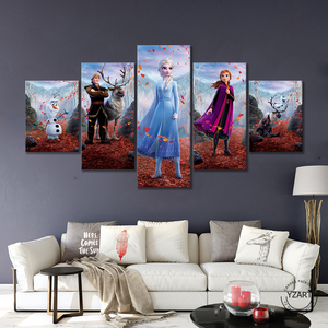 Image 1 - 5pcs HD Cartoon Wall Picture Frozen 2 Cartoon Movie Poster Canvas Paintings Wall Art Home Decor