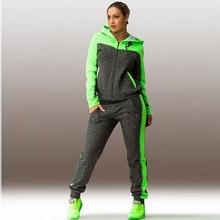 Комплекты из 2 предметов размера плюс, женский спортивный комплект для бега, свободные толстовки на молнии, длинные штаны, женские спортивные костюмы