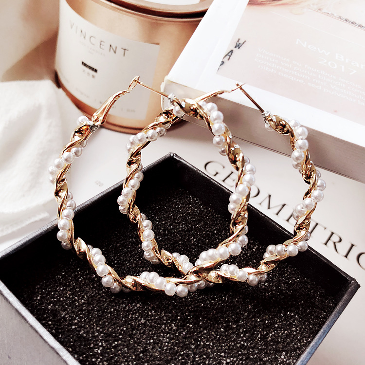 H9ed223846ded409692ec1cf4d955525ft - Fashion Simulated Pearl Statement Big Small Hoop Earrings for Women Exaggerate Circle Earrings Personality Nightclub Jewelry