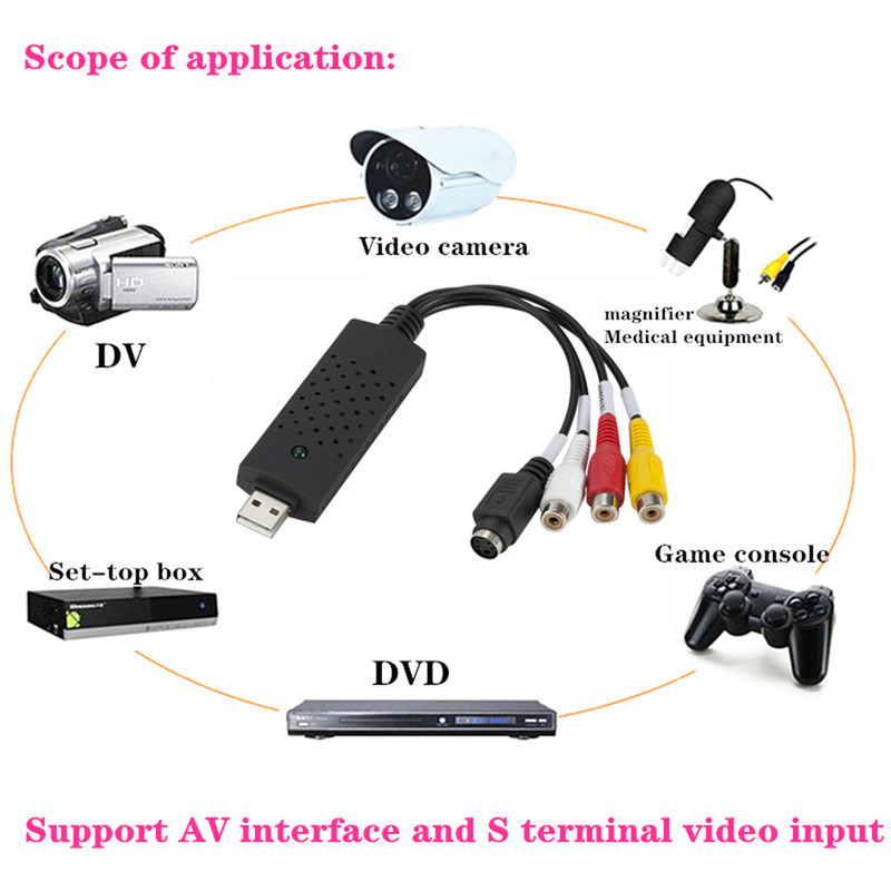 Protable USB2.0 VHS To DVD Converter Analog Video S-Video Capture Audio Video DVD VHS Record Capture Card PC Adapter For Windows 3