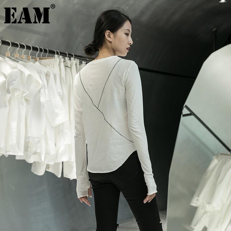 [EAM] Women Black Line Split Joint Temperament T-shirt New Round Neck Long Sleeve  Fashion Tide  Spring Autumn 2020 1DA905 1