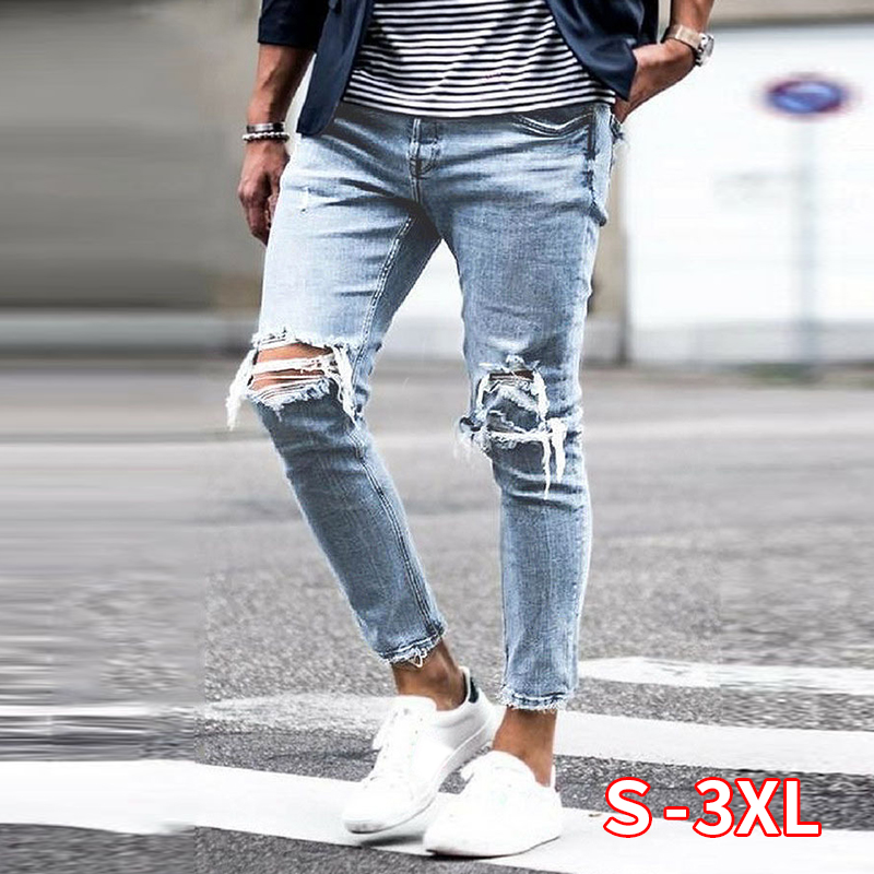 New Skinny Jeans Men Streetwear Destroyed Ripped Jeans Homme Hip Hop Broken Hole Male Pencil Biker Embroidery Patch Pants
