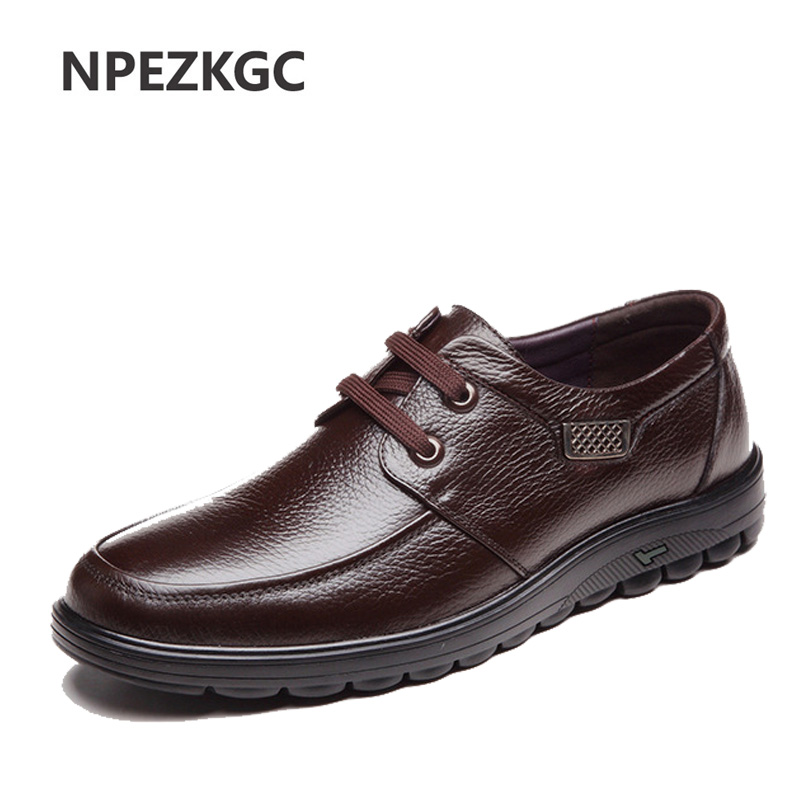 New 2019 Autumn Winter Warm Fur High Quality Genuine Leather Shoes Men Flats Moccasins Shoes Men's Casual Shoes