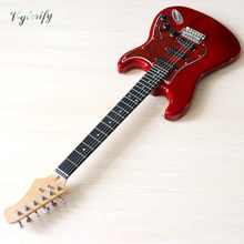 St guitarra elétrica 39 polegada cor vermelha de alto brilho 6 cordas completa basswood corpo elétrico guitarra