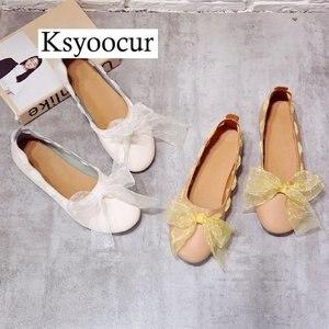 Image 4 - ยี่ห้อ Ksyoocur 2020 ใหม่สุภาพสตรีแบนรองเท้ารองเท้าสบายๆผู้หญิงรองเท้าสบายๆรอบนิ้วเท้ารองเท้าแบนฤดูใบไม้ผลิ/ฤดูร้อนผู้หญิงรองเท้า x06