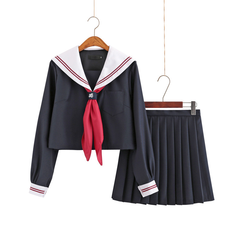 Japanese School Uniform For Girls Summer Cosplay Bad Girl Jk Student Costume High-end Black Tops+Skirt College Clothes B70292AD