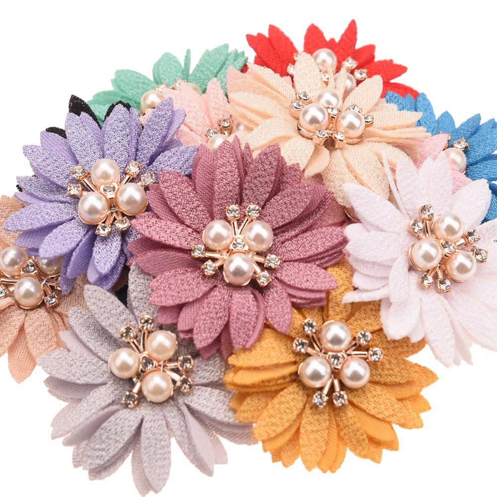 12 шт. 2 дюйма тканевые цветы Стразы кластеры аксессуары для волос для девочек банты для волос Детские аксессуары для волос головная повязка