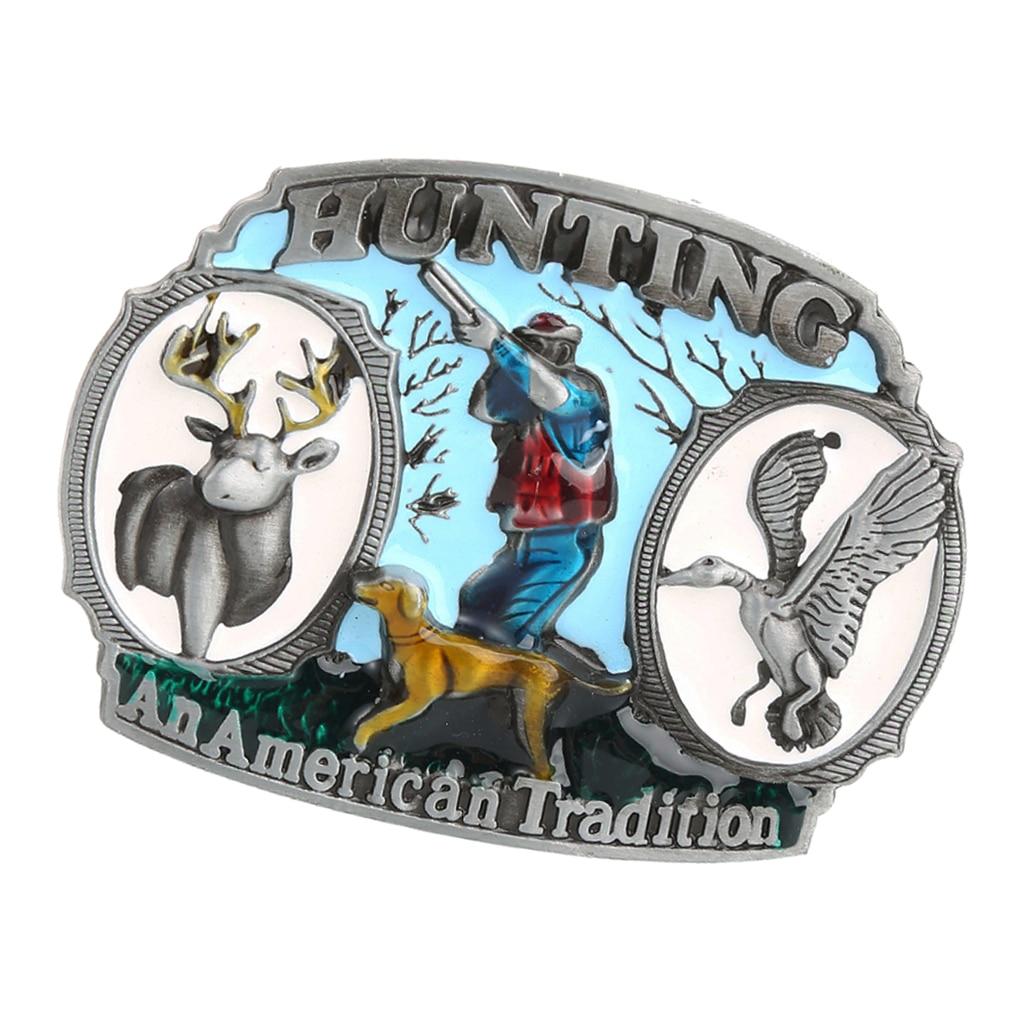 Vintage Western Cowboy Cowgirl And American Buckle Men Huntsman Carved Fashion Hunting Theme Belt Buckle Hip-Hop Cowboy Buckle