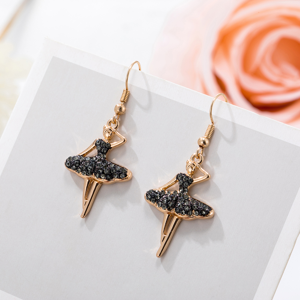 Fashion Jewelry Charms Gold Color Crystal Dancing Ballet Girl Pendants Earring For Women New Stud Earring Wedding Jewelry Gift