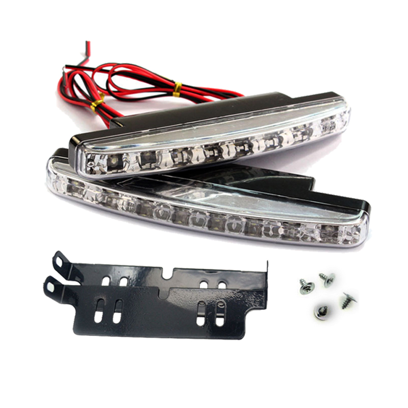 2x Car LED Signal Bulb DRL Working Fog Lamp Daytime Running Light Auto Assembly Styling Super Bright White External 12V 8LED