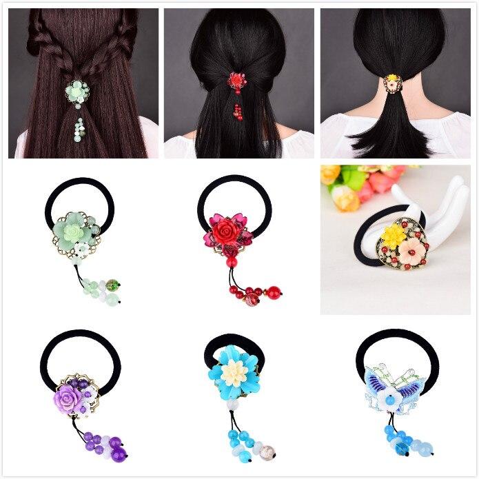 Requintado retro alta cabeça elástica corda hairbands rabo de cavalo corda de cabelo chinês antigo colorido esmalte headwear mulher bijoux