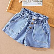 Children's Korean style high waist loose summer thin girl denim shorts 3003