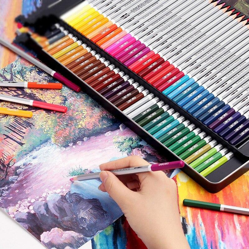 Deli Color Watercolor Pencil Cyan De Colores Crayon Painting Tool Lapis Lazuli De Prismacolor Coloring Fill Color Pen Painting