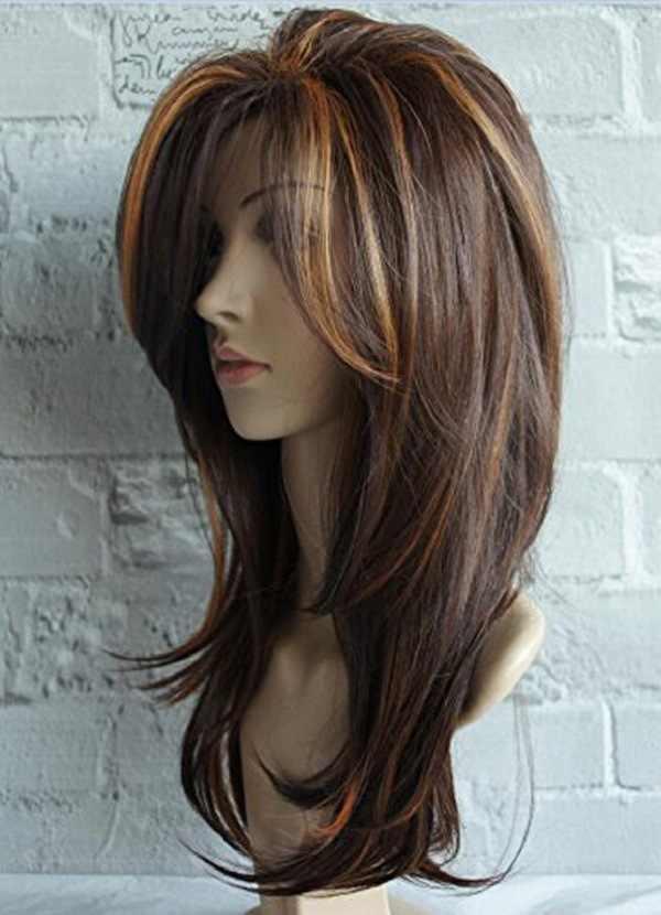 Kaprisli W uzun doğal dalga peruk kadınlar için Ombre kahverengi karışık renk isıya dayanıklı saç sentetik peruk