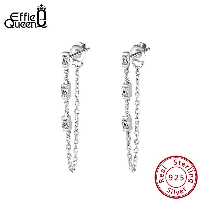 Effie Queen 925 Silver Chain Earring Texture Dangle Long Drop Earring With AAAA  Zircon Earring Jewelry Party Gift BE238