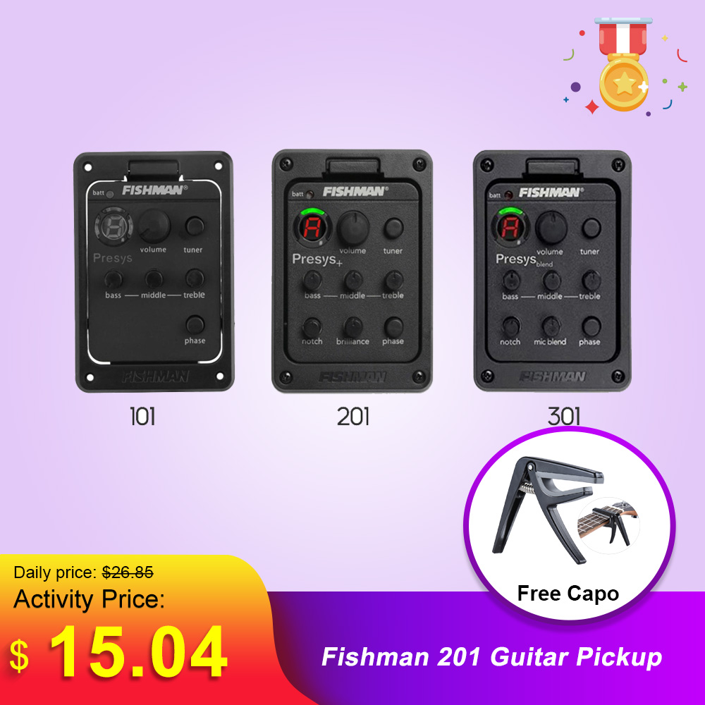 Fishman 201 Guitar Pickup Presys Blend Preamp Acoustic Guitar Equalizer Tuner Pickup For Guitar Accessories & Parts New Arrival