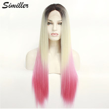 Similler 26 Inches Long Lace Front Wigs Synthetic Hair Ombre Dark Root Blonde Pink Cosplay Wig for Women(China)