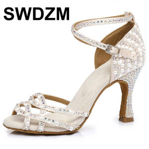 Pearl rhinestone female Latin dance shoes ladies ballroom dance sexy banquet high heels 6-10CM summer sandals