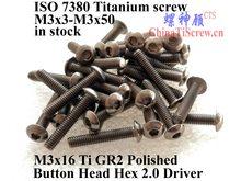Iso 7380 titânio parafuso m3x16 m3x18 m3x20 m3x22 m3x25 cabeça de botão hex 2.0 driver ti gr2 polido 10 peças