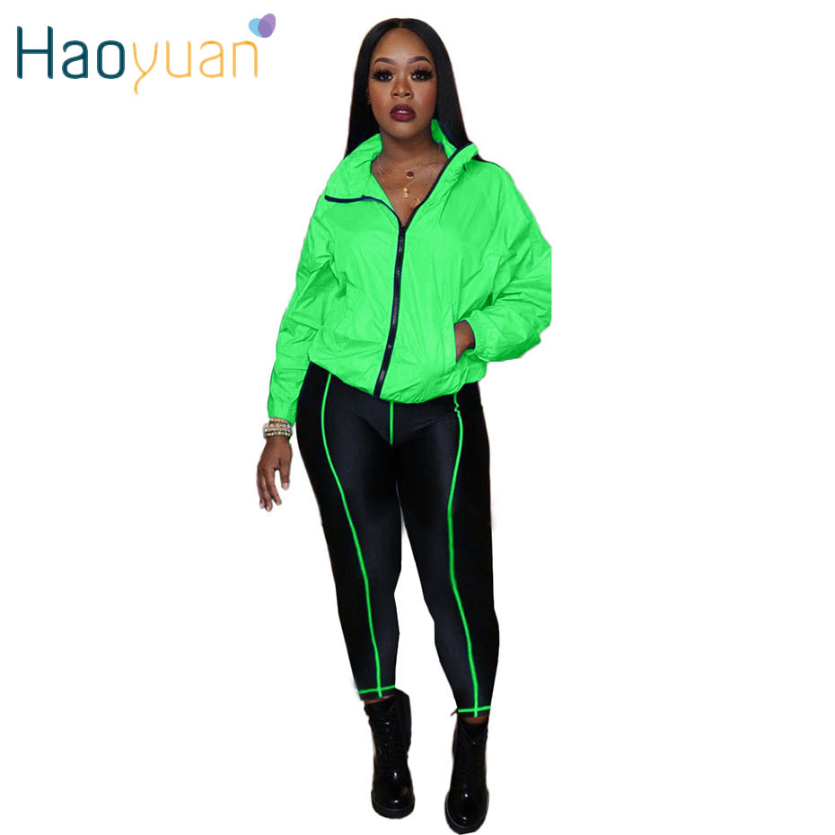 HAOYUAN Casual Matching Set Tracksuit Women Long Sleeve Zipper Top+Side Striped Pants Suit Fall Outfits Pink Clothes 2 Piece Set