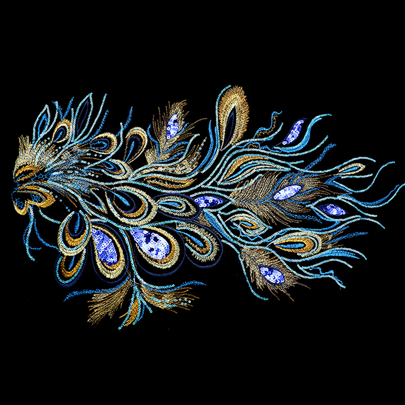 DIY Craft Embroidered Sequins Peacock Cloth Feather Applique Sew Trim 60X35cm DXAC