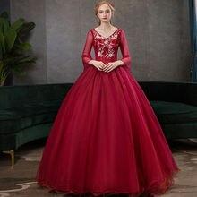 Бальное платье с рукавом 3/4 бордовые платья quinceanera vestido