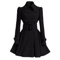 Women Vintage Woolen Coat Winter Warm Windbreaker England Fashion Black Swing Hem Belt Slim Elegant Retro White Wool Overcoat