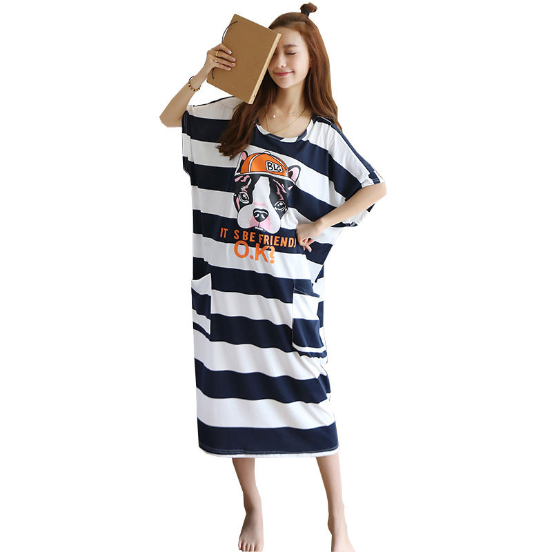 Pajamas Nightgown Dress Cute Plus-sized Summer Large Size Loose-Fit Fat Mm 200 Short Sleeve Not Support Long Skirts