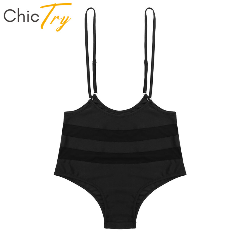 ChicTry Women Adjustable Straps Mesh Splice Sports Fitness Suspender Bottoms Sexy Pole Dance Shorts Nightclub Party Rave Costume