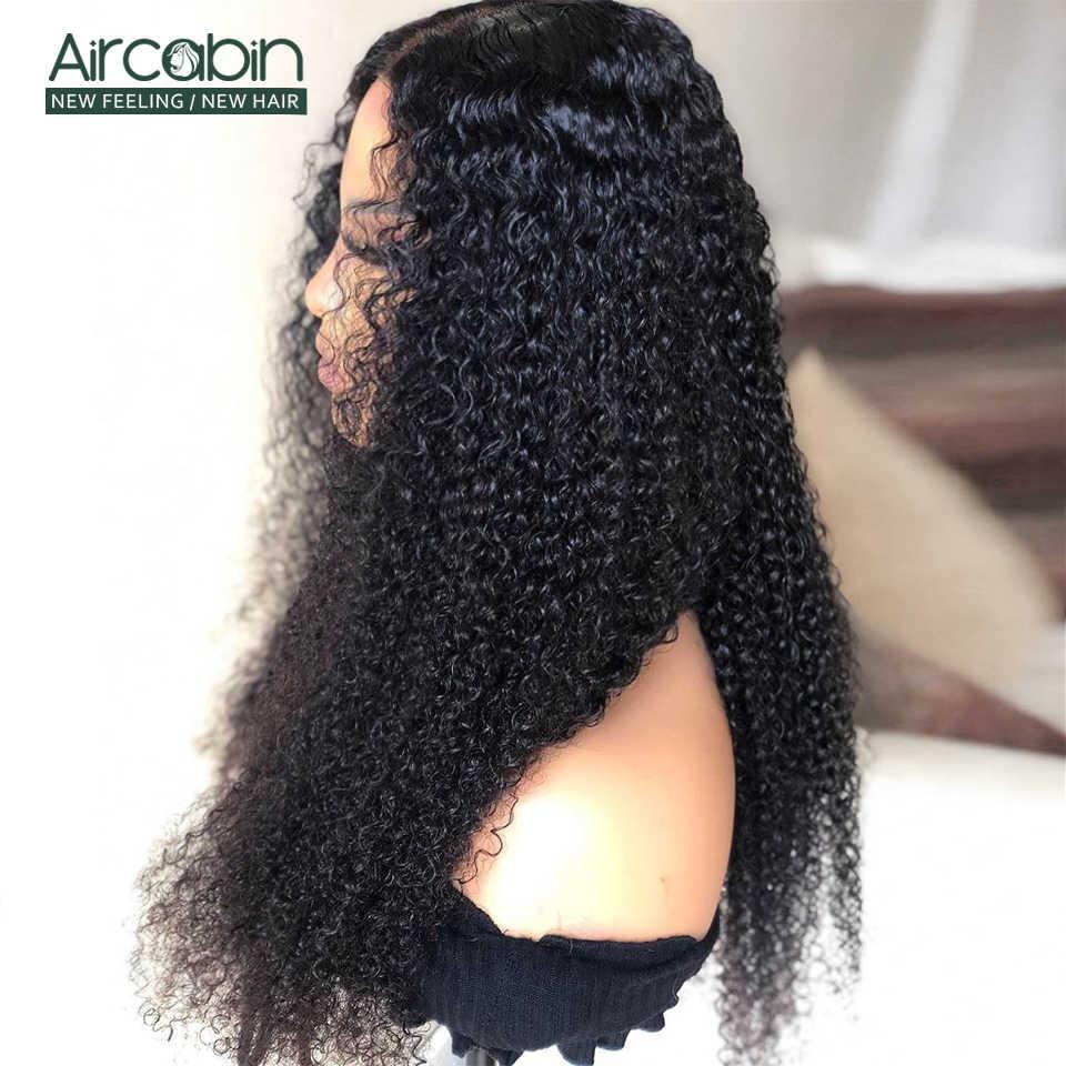 Aircabin Kinky kıvırcık 4x4 dantel kapatma peruk siyah kadınlar için brezilyalı İnsan saç peruk 150% yoğunluk 13x6 dantel ön peruk olmayan Remy