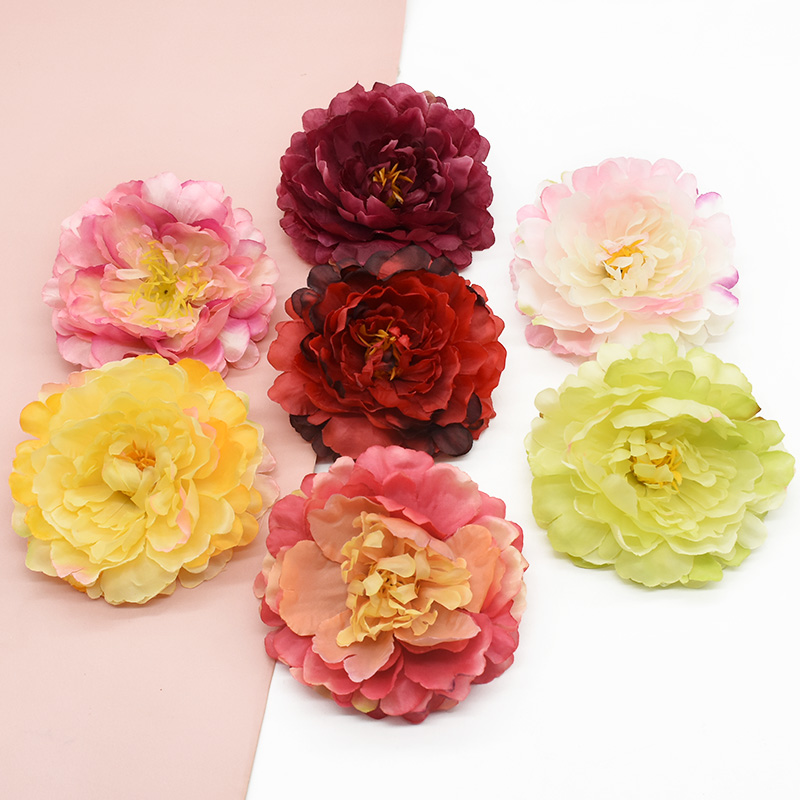 5 Pieces Artificial peony Home decoration accessories Wedding Brooch Scrapbooking Headwear Decorative flowers wreaths Candy box