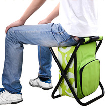 2 In 1 Folding Fishing Chair Bag Fishing Backpack Chair Stool Portable Backpack Cooler Insulated Picnic Bag Hiking Seat Fishing