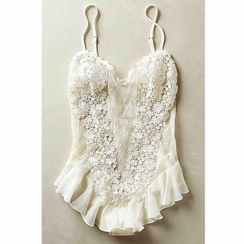 ชุดชั้นในสตรีสุภาพสตรีเซ็กซี่สบายๆ Bodysuits ผ้าไหมลูกไม้ Babydoll Nightdress Nightgown ชุดนอนสีดำสีแดงสีขาว