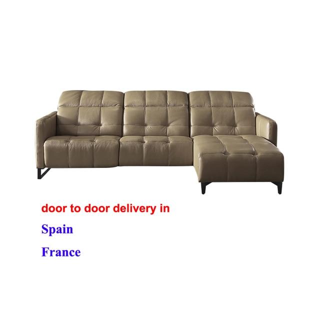 European Style Living Room Furniture Top Genuine Leather sofa L shape  258 X 170 cm electric recliner designer corner couch 1