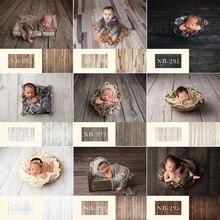 Фон для фотосъемки новорожденных с изображением деревянного пола и дня рождения