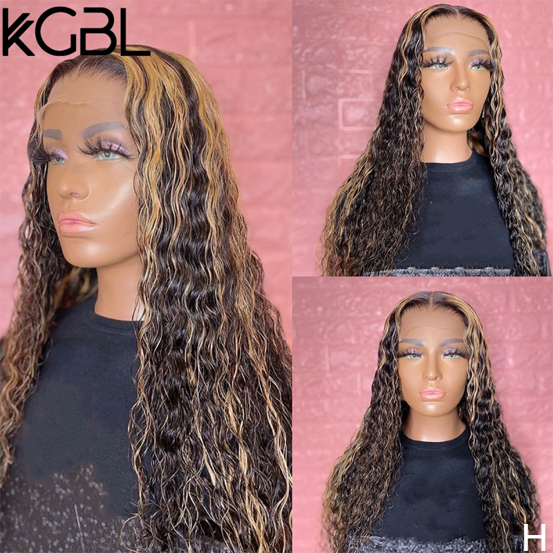 KGBL Highligh Ombre 13x6 Curly Lace Front Human Hair Wigs With Baby Hair Brazilian 150% Density 8-24'' Non-Remy Wig Medium Ratio