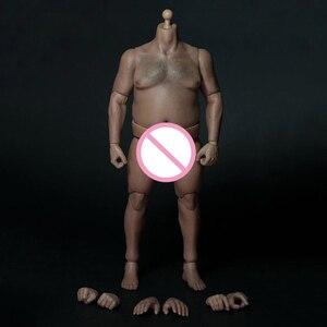 Muñeca móvil soldado de 12 pulgadas, modelo de juguete, escala 1/6, AT018, pechos grandes y gordos para hombre, modelo de cuerpo carnoso, juguete de colección de regalo para adultos