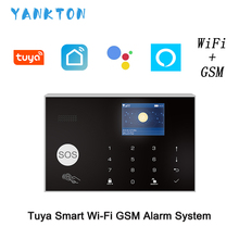 WIFI GSM Home Security Alarm System Security Home Alarm Works With Amazon Alexa amp Google Home Wireless amp Wired Burglar Alarm cheap Door Window Sensor The Alarm PSTN Apps Control 180*115*20mm 433mhz 2 4G EV1527 850 900 1800 1900MHz 3 7V 500mAh Rechargeable Lithium Battery
