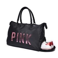 New Style Wholesale Short Trip Lettered Pink Shoulder Bag/ Hand Bag Luggage Bag Large Capacity Waterproof Sequin Shoes Bit Fitne