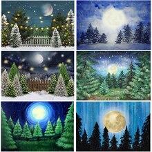 Mocsicka Inverno Neve Di Natale Sfondo Pittura A Olio di Pino Verde Albero Stelle Luna Decor Studio Fotografico Foto Sfondi