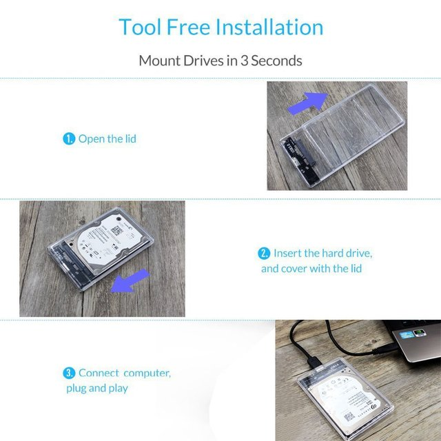 Reletech Hdd Case SATA  USB 3.1 External Hard Drive Case Enclosure with Cable for 2.5  SSD SATA Interface 5Gbps  hd externo 6